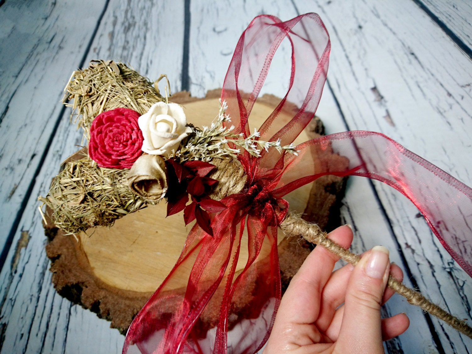 Flowergirl wand burgundy rustic wedding ivory gold sola flower dried ...