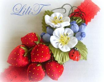 Baby headband, baby headbands. Strawberries. Baby girls elastic  headband. the flower headband.Baby Hair Bows.