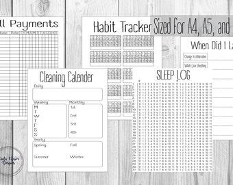 Bullet Journal Tracking Kit, Habit, Bill, Sleep, Cleaning, Spending Tracker Printable PDF
