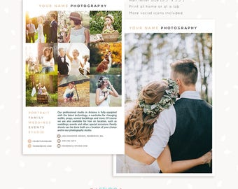 Photography flyer templates, Photography brochure template pamphlet, half letter one page brochure, photographer flyer, collage contact card