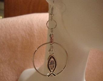 faith earrings, earrings, faith fashion jewelry, fashion jewelry, fish earrings, hoop earrings,faith pierced earrings,pierced earrings(269)