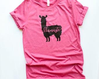 Llama, Llama Shirt, Llama Clothing, Llama Womens top Alpaca Llama gift Funny Womens Llama Shirt Llama tshirt yoga Llamaste Birthday Party