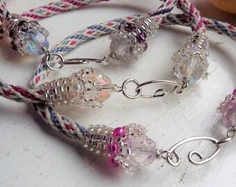 Sterling Silver Clasp Crystal Kumihimo Bracelet