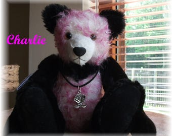 Sweet Little 10 1/2  inch Panda Teddy Bear  Handsewn  One-of a Kind 'Charlie'