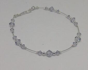Smoky Mauve (Pale Gray-Lilac) Swarovski Crystal and Steel Anklet