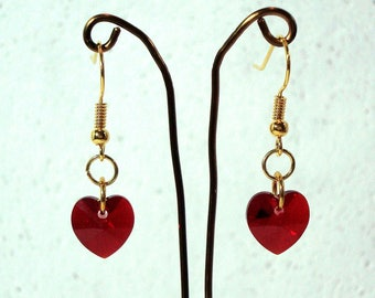 Red Heart Earrings - Swarovski Elements