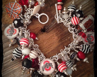 Ohio State Charm Bracelet, Ohio State, Buckeyes, Buckeyes jewelry, Buckeyes Bracelet