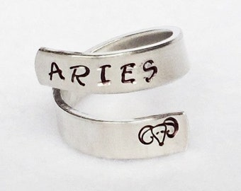 Aries - Personalized Zodiac Ring - Personalized Ring - Custom Ring -Handstamped Ring -Astrology Ring -Adjustable Ring - Astrological Gift
