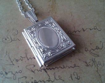 Book Locket necklace ~ silver ~