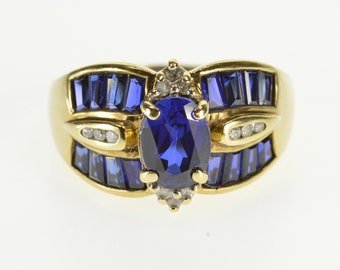 10k Oval Baguette Sapphire* Diamond Accented Ring Gold