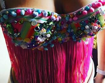 Pastel Rainbow Summer Flower Bra