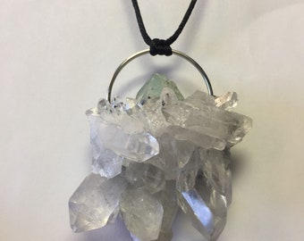 Quartz Cluster with Green Fluorite and Galena in Silver Pendant by oldmanwithers