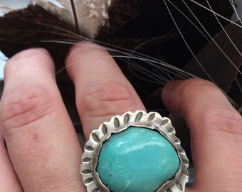 Large Natural Turquoise Nugget Ring - Rustic Sagittarius BOHO Sterling Silver Ring Size 7.5 - Unique Southwestern Metalwork Jewelry