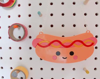 The Very Friendly Hotdog, Statement Necklace, Laser Cut