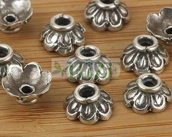 HIZE SB608 Thai Karen Hill Tribe Silver Flower Petal Bead Caps 9mm (16)