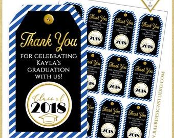 Graduation Thank You Tag: Blue Graduation Tags, Graduation Favor Tags, Graduation Printables, Personalized Graduation Thank you Tags, #22618