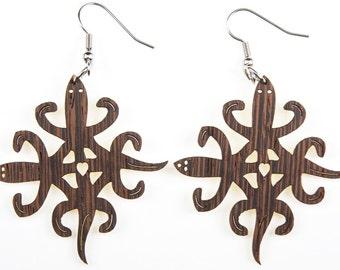 "African symbol ""Unity"", Laser Cut, Wood Earring"