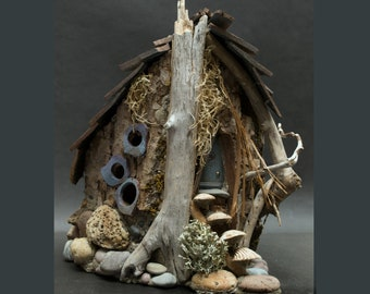 Rustic Fairy or Gnome Home from the Great Outdoors  made from driftwood and  bark, fanciful windows, natural materials, OOAK