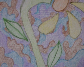 Child Art  ACEO card Flower in Pencil--custom listing for Auntmemmy