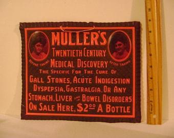 Vintage Celluloid Muller's Medicine Sign