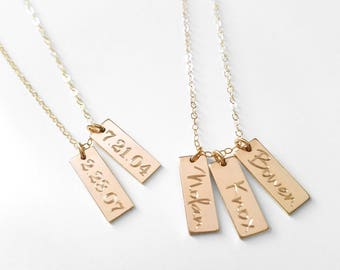 Triple bar necklace etsy short bar tag necklace kids names pendants roman numeral special date baby name multiple tagsdainty custom personalized rose gold silver aloadofball Gallery