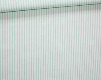 Mint green and white stripes, 100% cotton fabric printed 50 x 160 cm