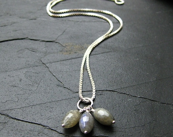 Mistral Necklace. Labradorite and Silver with Chain