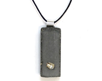 Handcrafted Concrete Jewelry Pendant with Nested Sterling Inlay