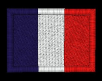 French Flag Embroidery Design in 3 sizes