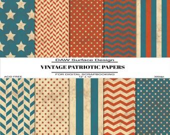 Vintage Patriotic Scrapbook Papers, Premade Pages, Instant Download