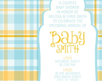 Plaid Baby Shower Invitation BOY print your own