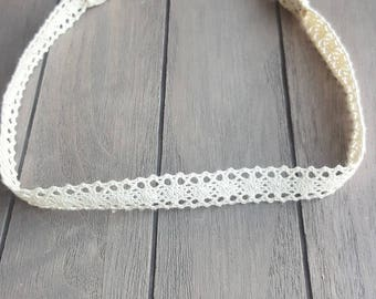 Charlotte Crochet Lace Boho Headband - Ivory - Baby girl - Nylon Headbands - Boho Headbands - Infant/Toddler