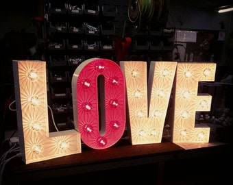 """20"""" / 50cm Tall LOVE Marquee Letter Lights -  Hand Made in the UK"""
