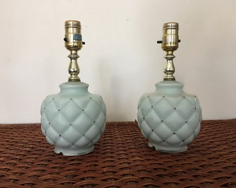Pair of Vintage Lamps - Teal and Gold Hollywood Regency Bedside Lamps - Small Milk Glass Accent Lamps - Nightstand Lamps - Two Lamps