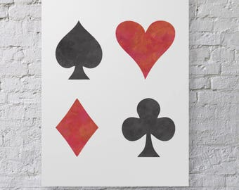 CraftStar Large Playing Card Symbols Stencil - Heart, Club, Spade and Diamond Stencil
