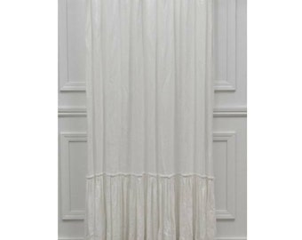 White linen shower curtain with ruffles, 72W x 84L, custom made, white linen, girly curtain