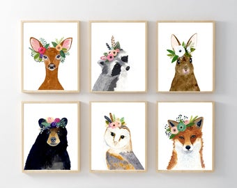 Flower crown animals, Woodland animals print set, Set of 6 Prints, racoon, owl, fox, deer, rabbit, bear, nursery art, nursery prints, floral