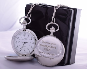 Engraved/Personalised Pocket Watch in SILK GIFT BOX For Birthday/Wedding/Best Man/Dad/Fathers Day/Grandad/Christening/Communion