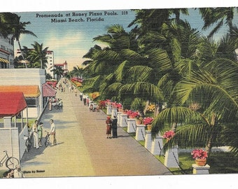 Vintage Florida Linen Postcard Miami Beach Promenade at Roney Plaza Pools UNUSED