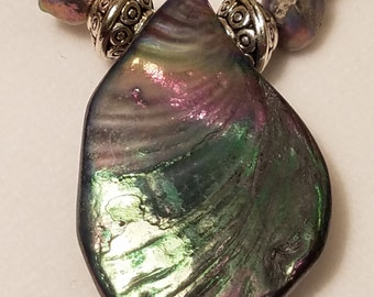 Abalone Colored Necklace and Earring Set