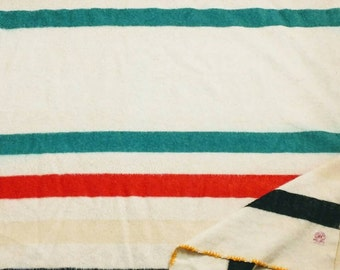 """Pre-WWII Blanket 160""""x 70 """" Hudson Bay Wool Blanket Classically Romantic Red Label Picnic Blanket Long Red Green Pendleton Style Original"""