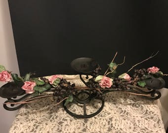 Vintage Wrought Iron Candleholder Candelbabra Center Piece with Pink Roses and GrapeVine Shabby Chic Candelabra