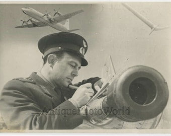 Soviet pilot by plane vintage art photo