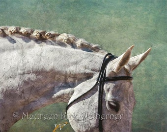 Horse wall art horse decor bedroom gift for horse lover dressage gift horse gift white horse show braids mane