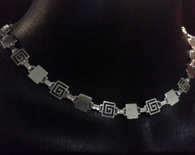 Vintage Mexico Sterling Silver Greek Key Motif Geometric Hinged Necklace Signed MR163 MEX 925