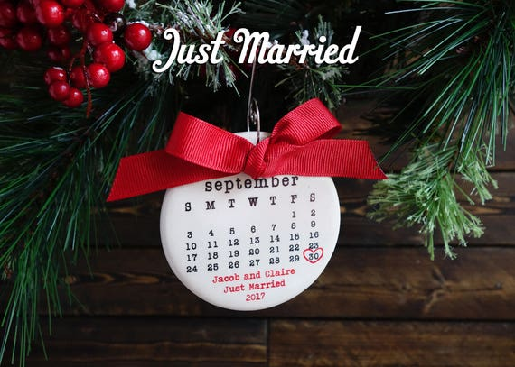 JUST MARRIED ornament Wedding ornament personalized