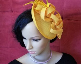Yellow Fascinator Bridesmaids Fascinator Hat Blue Kate Middleton Kentucky Derby Hat cocktail Tea Party Hat Easter CrownJewell