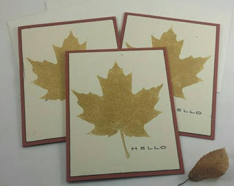 Set of 3 Handmade Fall Leaf Greeting Cards with envelopes