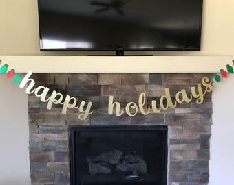 Happy Holidays Banner, Christmas Lights Banner, Glitter Banner, Merry Christmas Banner, Mantel Banner, Happy Holidays, Holiday Party Banner