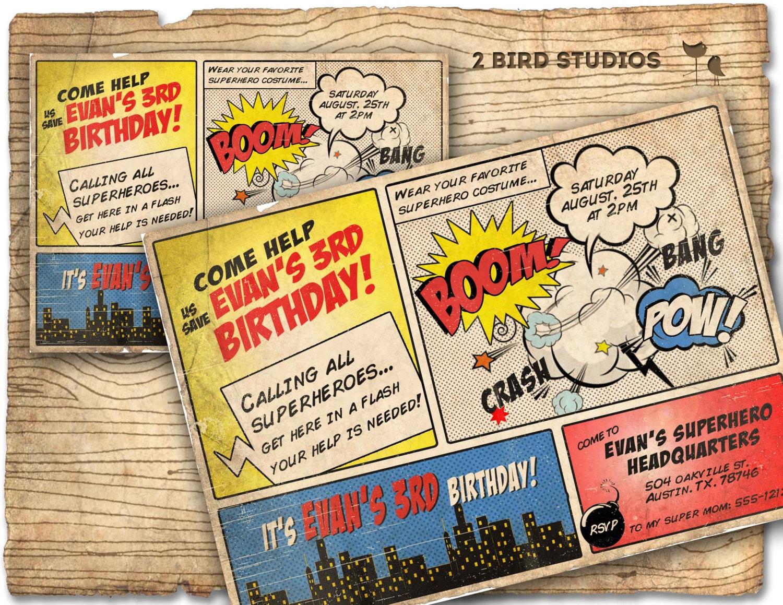 Superhero Invitation / VINTAGE Superhero birthday invite DIY